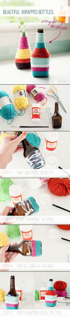 Yarn Wrapped Bottles | #DIY. . I would buy a big vase and do this <3