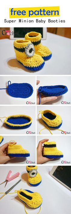 Crochet Baby Mittens Super Easy Minion Inspired Baby Booties Free Crochet Pattern - This cute super easy minion inspired baby booties free crochet pattern is a creative and fun way to make booties. Use this free pattern to make one now! Crochet Baby Mittens, Crochet Baby Blanket Beginner, Crochet Baby Shoes, Crochet Baby Booties, Crochet Slippers, Beginner Crochet, Crochet Hats, Crochet For Kids, Diy Crochet