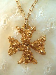 SOLD RARE Sascha Brastoff Gold Cross with Original Tag! on Etsy at RetroRosiesVintage $175.00