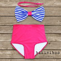 Bow Bandeau Bikini - Vintage Style High Waisted Pin-up Swimwear - Nautical - Hello Sailor! - Unique & So Cute! on Etsy, $49.00