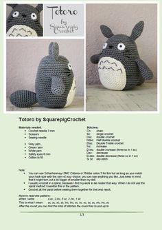 crochet pattern, 6 inch high amigurumi, Totoro crochet pattern, 6 inch high amigurumi, T. Totoro Crochet, Crochet Kawaii, Cute Crochet, Crochet Crafts, Crochet Toys, Crochet Projects, Crotchet, Knitting Projects, Crochet Amigurumi Free Patterns