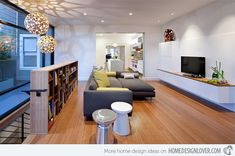 Modern Family Room Design With wooden flooring