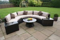Grey Rattan Garden Furniture, Rattan Sofa, Outdoor Furniture Sets, Outdoor Decor, Wicker, Garden Sofa Set, Round Sofa, Outdoor Living, New Homes