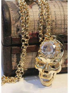 Diamond Crystal Skull Sweater Chain