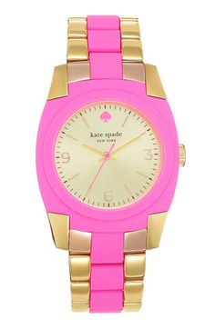kate spade new york skyline bracelet watch (Nordstrom Exclusive) Bazooka Pink/ Gold Offer Stores Pink And Gold, Pink And Green, Purple, Color Magenta, Colour, Hot Pink, Kate Spade Watch, The Bling Ring, Everything Pink