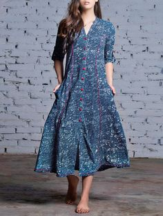Indigo-Red Button Down Natural Dyed Block Printed Cotton Dress Dress Neck Designs, Blouse Designs, Kurtha Designs, Pakistani Dresses, Indian Dresses, Pakistani Suits, Cotton Dresses Online, Dress Online, Casual Dresses