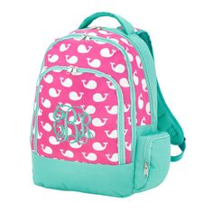Monogrammed Hot Pink Whale Backpack, Personalized Girls Whale Back pack, Monogrammed Girls Bookbag