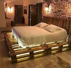 Awesome Unordinary Recycled Pallet Bed Frame Ideas To Make It Yourself. furniture ideas Unordinary Recycled Pallet Bed Frame Ideas To Make It Yourself Pallet Home Decor, Pallet Patio Furniture, Bedroom Furniture, Home Furniture, Diy Home Decor, Furniture Design, Bedroom Decor, Furniture Ideas, Warm Bedroom