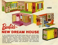 """I think this Barbie Dream House was designed by Mattel as a Sears exclusive.  My younger sister got this for Christmas in 1964. I loved this Barbie Dream House. It had such """"suburban elegance""""."""