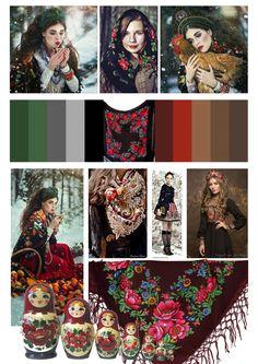 Geografische stijl 1: Russian! Rusland heeft verschillende stijlen. Dus ik ben me op de kleding en matroesjka stijl gaan richten. Zoals je kunt zien komen rood en groen sterk naar voren. Dit in combinatie met het nodige zwart. De vormen die hier ook vaak terug te vinden zijn, zijn de bloemen -> voornamelijk rozen. Het rood en groen varieert heel erg van licht naar donker. Ook de natuur speelt een belangrijke rol in deze stijl. Vooral in de fotografie.