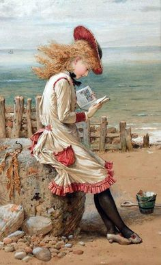 """""""An Interesting Story. William Stephen Coleman (English, Watercolour heightened with white bodycolour. Coleman was a keen naturalist painting for the Illustrated News and the. Reading Art, Woman Reading, Beach Reading, Children Reading, Reading Books, Illustrations, Illustration Art, Character Illustration, Oeuvre D'art"""