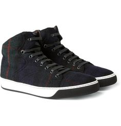 Lanvin Plaid Wool and Leather High Tops...imagine in Seanamarena...Lesotho swag