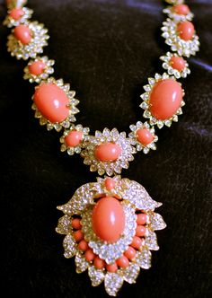Kenneth Jay Lane - coral and diamond Coral Jewelry, High Jewelry, Diamond Jewelry, Beaded Jewelry, Jewelry Accessories, Jewelry Design, Beaded Necklace, Diamond Necklaces, Silver Jewelry
