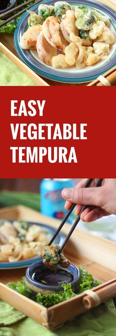 These tempura vegetables are coated in a light, three ingredient batter, shallow fried to crispy perfection, and served with soy sesame dipping sauce. #DrinkVintage #seltzer