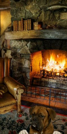 Rustic Fireplaces, Cozy Fireplace, Fireplace Design, Cozy Nook, Cozy Cabin, Cozy House, Cabin Homes, Log Homes, Fireplace Pictures