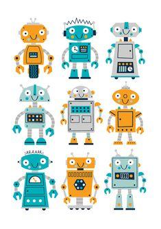 Robot nursery print boys robot print robot art by BubbleGumYears Robot Nursery, Nursery Decor Boy, Nursery Prints, Nursery Ideas, Kids Art Class, Kids Room Art, Art For Kids, First Grade Art, Arte Robot