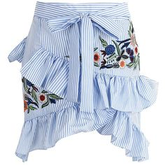 Blue Striped Embroidery Asymmetric Ruffle Tie Waist Mini Skirt (6.200 HUF) ❤ liked on Polyvore featuring skirts, mini skirts, frilly skirt, blue skirt, asymmetrical ruffle skirt, stripe skirt and short mini skirts