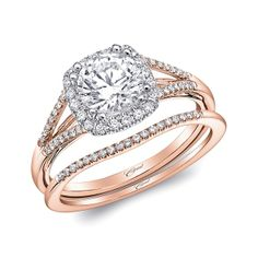 Rose gold is here to stay with this sleek and classy design by Coast Diamond. The wedding set features a 1 ct. round brilliant center stone, hugged by a halo and set in rose gold on a diamond split shank. Matching pave band serves as wedding band, making the perfect bridal set. www.diamonds.pro
