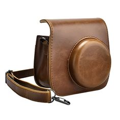 SKmoon PU Leather Instax Camera Accessories Compact Case Vintage Shoulder Bag with Pocket for Fujifilm Instax Mini 8 Instant Film Camera Brown ** Read more at the image link.