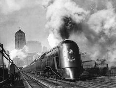 """Commodore Vanderbilt"" departing Chicago's LaSalle Street station, 1935."