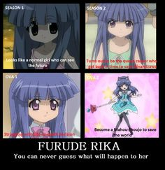 Higurashi no Naku Koro ni - Furude Rika Me Me Me Anime, Anime Love, When They Cry, Psychological Horror, Crazy Friends, Crazy Girls, Gaming Memes, Dark Anime, Funny Laugh