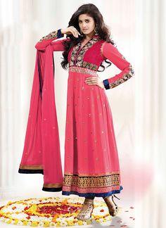 Brilliant pink ankle length anarkali suit