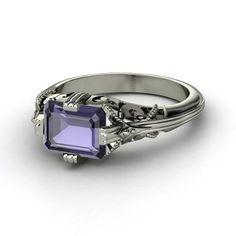 Emerald Iolite 14K White Gold Ring  - Acadia Ring   Gemvara