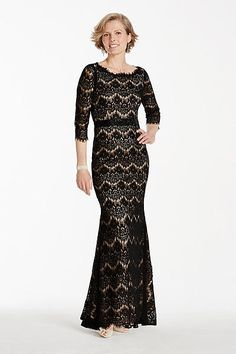 3/4 Sleeve Lace Dress with Beaded Sash A16676
