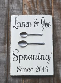 Couples Gift Wedding Sign Valentines Couples Personalized Sign Wedding Gift Kitchen Decor Dining Decor Anniversary Wood Sign Spooning Date I know somebody that would find this funny