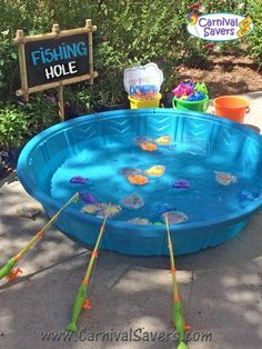 Diy almost free fish cup carnival game carnival for Easy care pool products