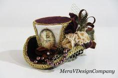 Mini Top Hat Burgundy Velvet Gold Steampunk by MeraVDesignCompany, $47.00
