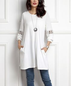 Look at this #zulilyfind! White Lace Panel Tunic by Reborn Collection #zulilyfinds