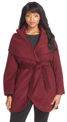 Plus Size Cutaway Wrap Coat with Oversized Collar