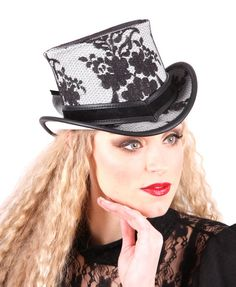 The Lace Mini Leather Top Hat