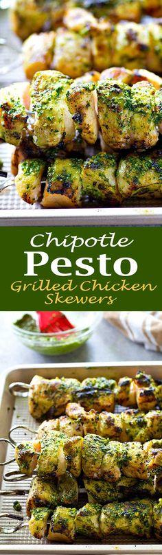 Chipotle Pesto Grilled Chicken Skewers