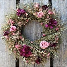 dried rose wreath by mrspmerideth