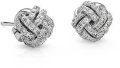 Blue Nile Love Knot Diamond Earrings in 14k White Gold
