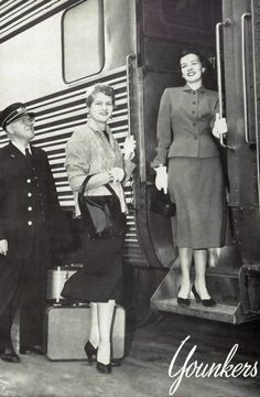 Younkers Department Store women's clothing ad, 1954. Photo taken on Rock Island Rocket passenger train