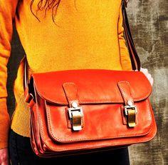 Leather bag, Women bag, Handmade Leather Bag, Crossbody Bag, Orange Leather Bag; Messenger Bag by HELIXSIS on Etsy