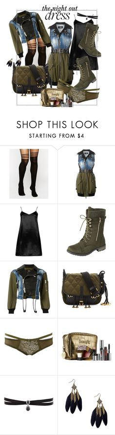 """olive denim & black leather night out dress - awesome"" by caroline-buster-brown ❤ liked on Polyvore featuring ASOS, Dsquared2, Boohoo, Prada, Charlotte Russe, Benefit, Fallon and NightOut"