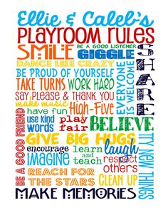Playroom Rules – Personalized Sign - Add Names - Children's Art – Playroom Décor…