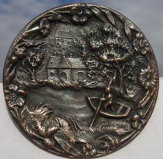 "Scenic ""Man in Boat"" Gorgeous 1940s Pewter Vintage Antique Picture Button 