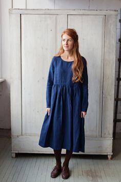 Linen Dress, Navy Blue, Long Sleeve, High Waist, Hand Made Dress, Loose Dress, Women clothing, Smock Dress, Women Fashion