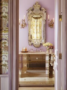 Gina Kates: Kendall Wilkinson Design - Mirrored bath vanity, venetian mirror, sconces and lilac ...