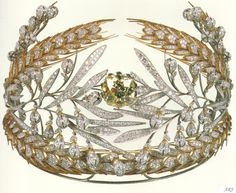 Russian Royal Jewels: Maria Feodorovnas Russian Field Diadem Empress Maria Feodorovna (wife of Paul I, not the other one) commissioned a diadem from the famous Duval Brothers. The Empress wanted something that would remind of the Russian fields, and so the brothers created a diadem of oak and laurel leaves, bordered by sheaves of wheat.