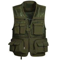 2017 Summer Mesh Vests for Shooting Photographer Vest Men with Many Pockets Director Military Style Sleeveless Jackets solid Military Vest, Military Fashion, Military Style, 5.11 Tactical Series, Tactical Gear, Safari Vest, Poncho Outfit, Lightin The Box, Sleeveless Jacket