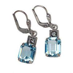 Rectangular Crystal Earrings: La Vie Parisienne at WilkinsandOlander.com