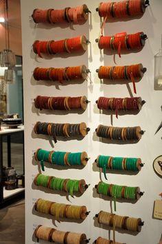 Ribbon storage by lindsay. Ribbon Display, Ribbon Storage, Craft Organization, Craft Storage, Organizing, Sewing Room Storage, Visual Display, Velvet Ribbon, Garden Art
