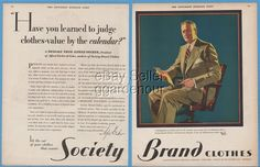 1929 Society Brand Clothes Decker Cohn Chicago IL Mens Suits Fashion Print Ad