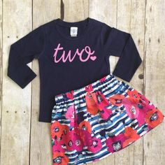 Absolutely adorable girls Birthday outfit! Comes with a Fun floral skirt and coordinating navy long sleeve shirt. Matching headband available at